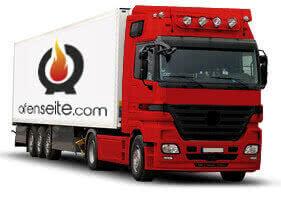 Camion rouge pour l'expédition des marchandises dans tout le monde