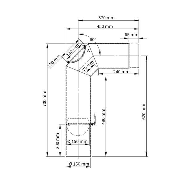 160 mm kit tuyaux de po le anguleux gris chez. Black Bedroom Furniture Sets. Home Design Ideas