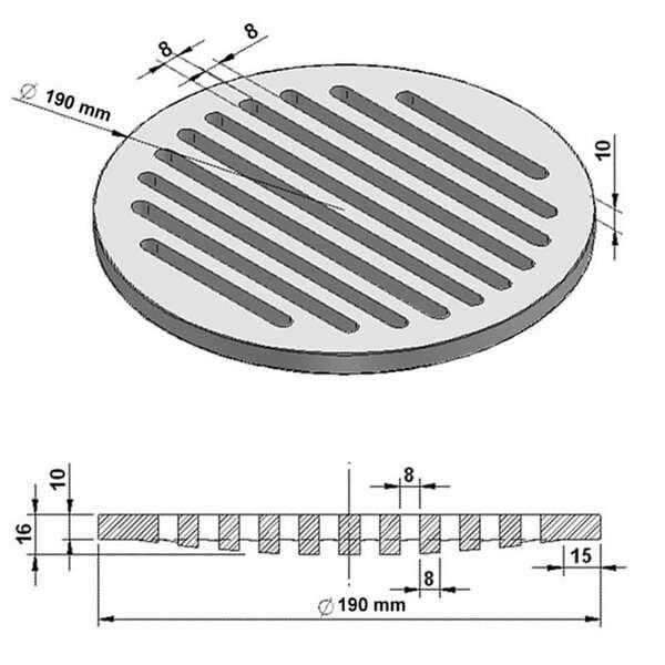 grille de cendres ronde 19 cm en fonte chez chez. Black Bedroom Furniture Sets. Home Design Ideas