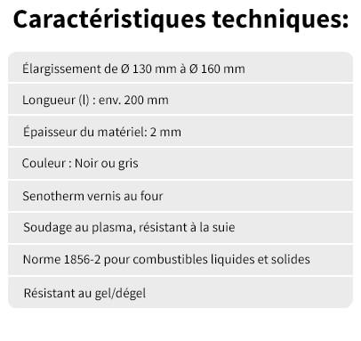 Elargissement 130 de 160 Caracteristiques techniques