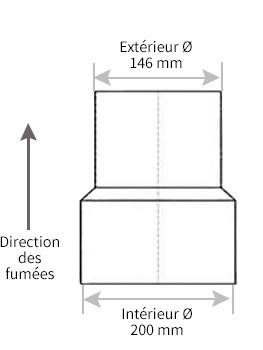 tuyau de po le r duction 200 150 chez. Black Bedroom Furniture Sets. Home Design Ideas